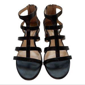 Antonio Melani Black Leather Strappy Heel Sandals